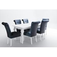 Zestaw stół połysk biały i 6 krzeseł ludwik
