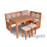 Naroznik kuchenny drewniany kasetonowy stół taborety