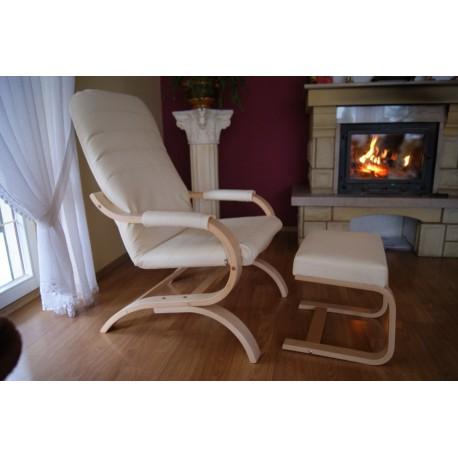 Fotel finka z podnózkiem i podłokietnikami