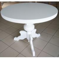 Stół okrągły, biały, toczony S4