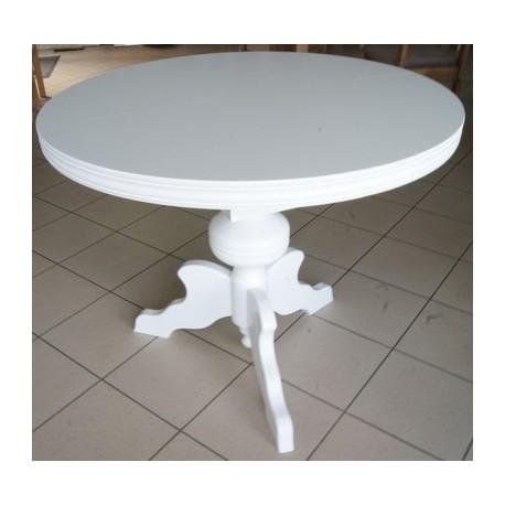 Stół okrągły, biały, toczony