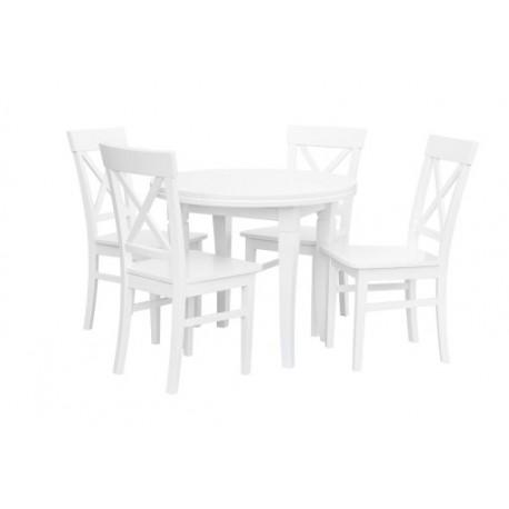Zestaw salon, kuchnia, stół + 4 krzesła biały