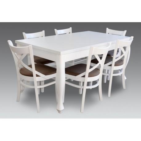 Komplet stół i 6 krzeseł ludwik biały