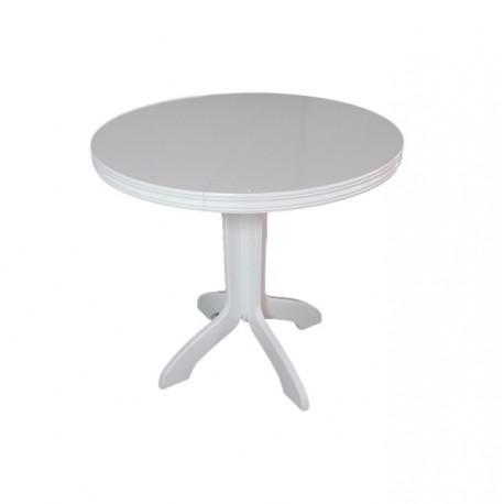 Stół okrągły na jednej nodze, biały