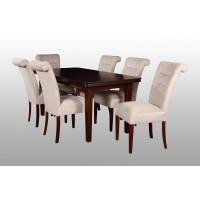 Stół i 6 krzeseł tapicerowanych do salonu