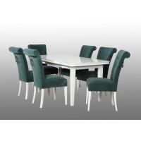 Zestaw pokojowy stół biały połysk i 6 krzeseł z kołatką