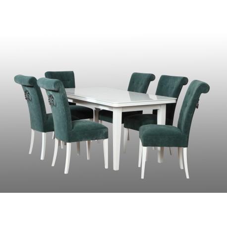 Zestaw pokojowy stól biały połysk i krzesła z kołatką