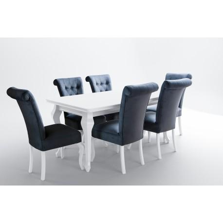 Stół 100x200-300 + 8 krzeseł biały połysk ludwik