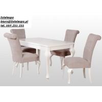 Stół biały 80x140 + 40 i 4 krzesła ludwik połysk białe