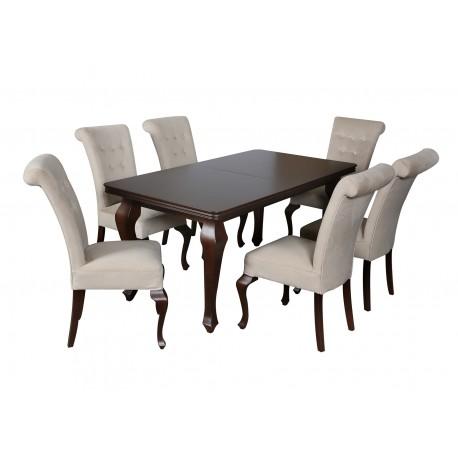 Zestaw stól i krzesła ludwik do salonu