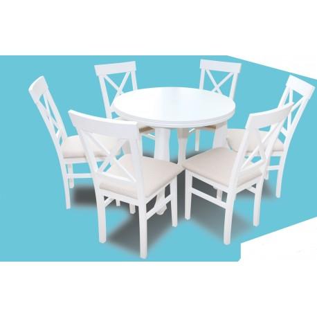 Zestaw stół ludwik 100cm +wkładka  i 6 krzeseł biały