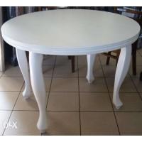 Stół Ludwik okrągły biały 100+2x50 owal